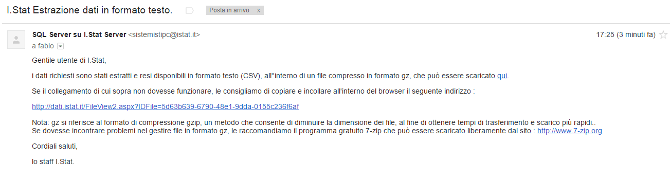 email avviso download disponibile