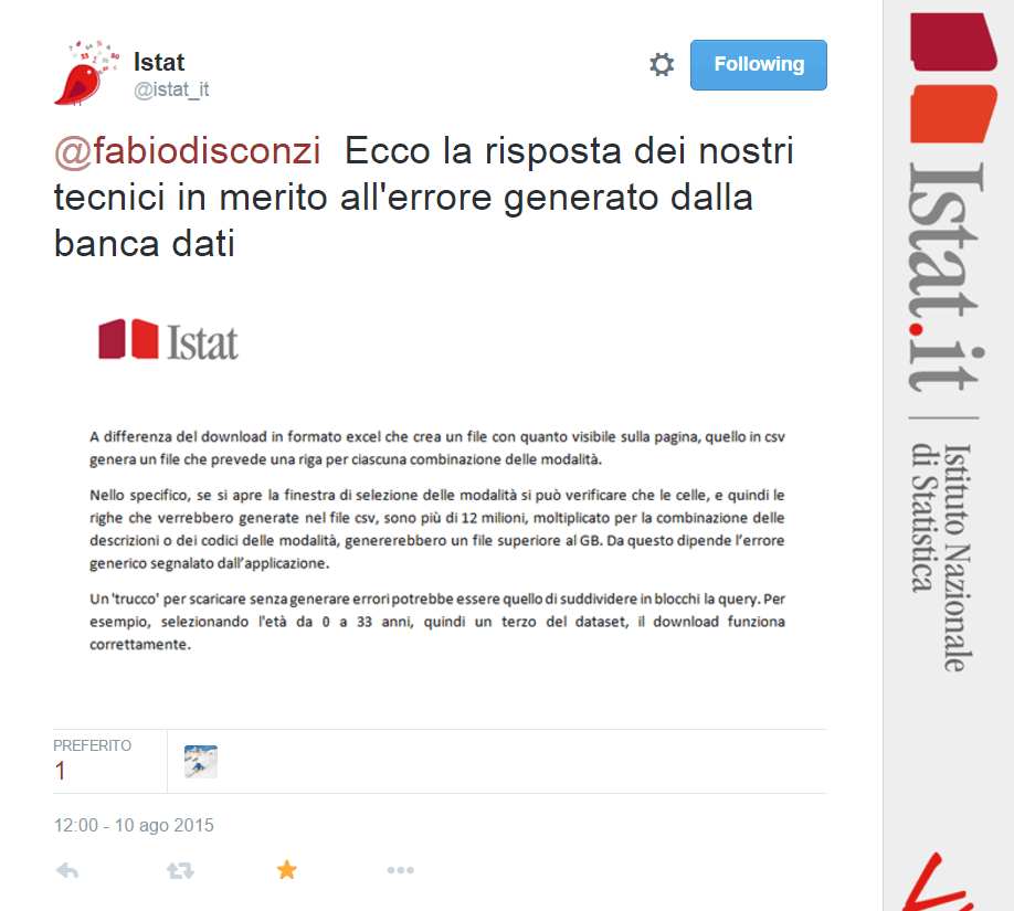 risposta team dati.istat.it