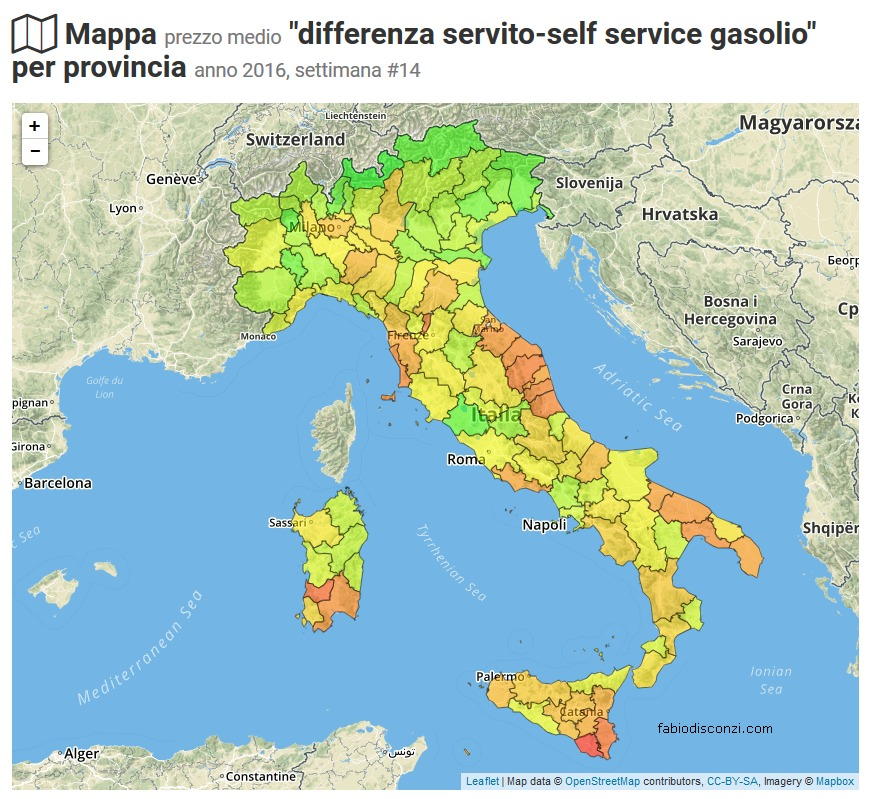 differenza prezzi gasolio servito e self-service province italiane