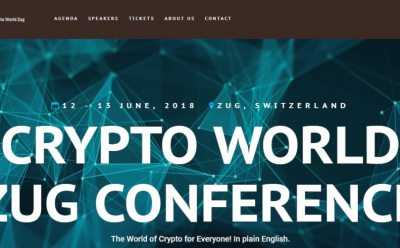 Conferenza a Zug: CRYPTO WORLD ZUG CONFERENCE - 12 e 13 giugno 2018